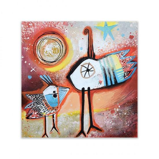 Plumas, painting by Angeles Nieto