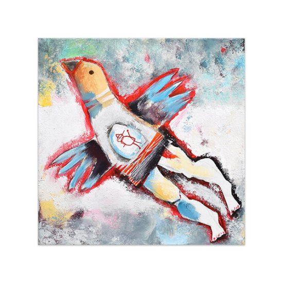 Soy pájaro, I am a bird, painting by Angeles Nieto