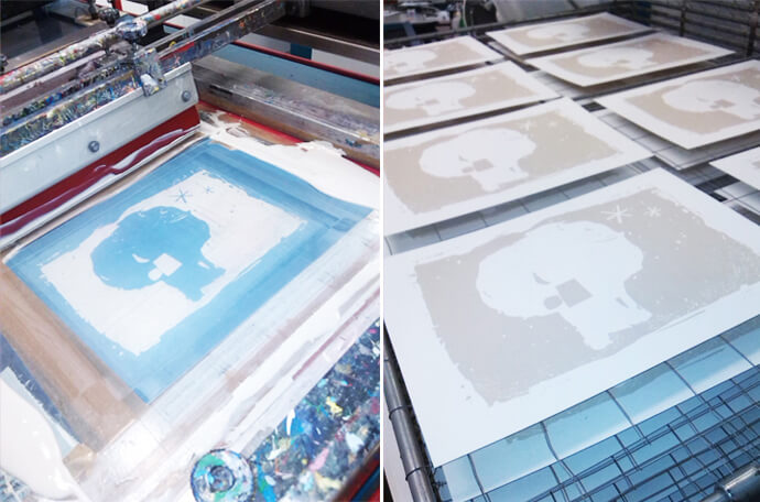 Screenprinting by Angeles Nieto Trollkohnskoppel Kiesby Germany