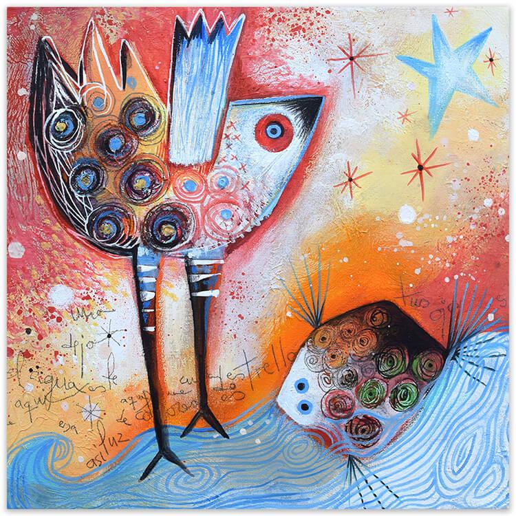 Con los pies en el agua, painting by Angeles Nieto