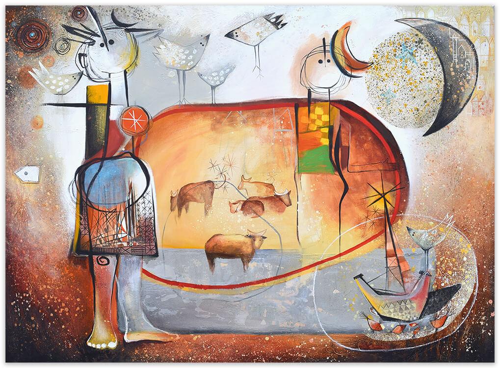 Tarde en el prado, painting by Angeles Nieto