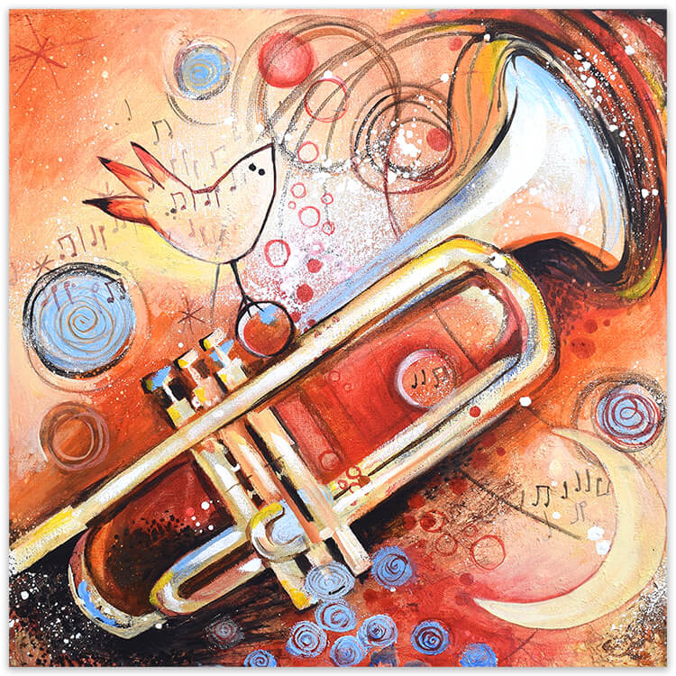 La trompeta, schilderij van Angeles Nieto