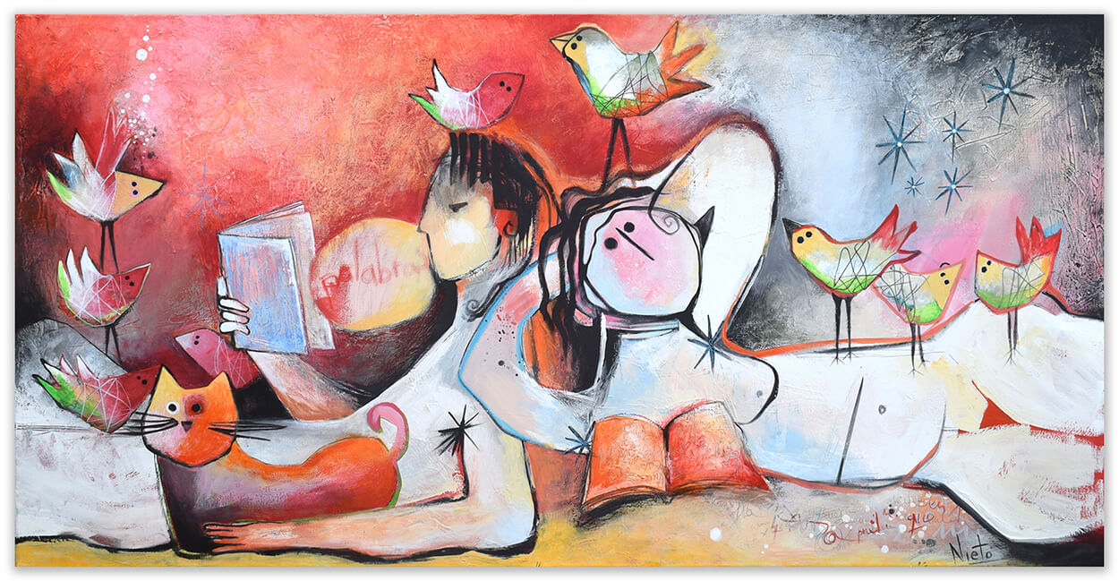 Entre lecturas original painting by Angeles Nieto