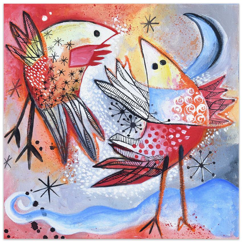 painting by Angeles Nieto - Vogel - bird - pájaro