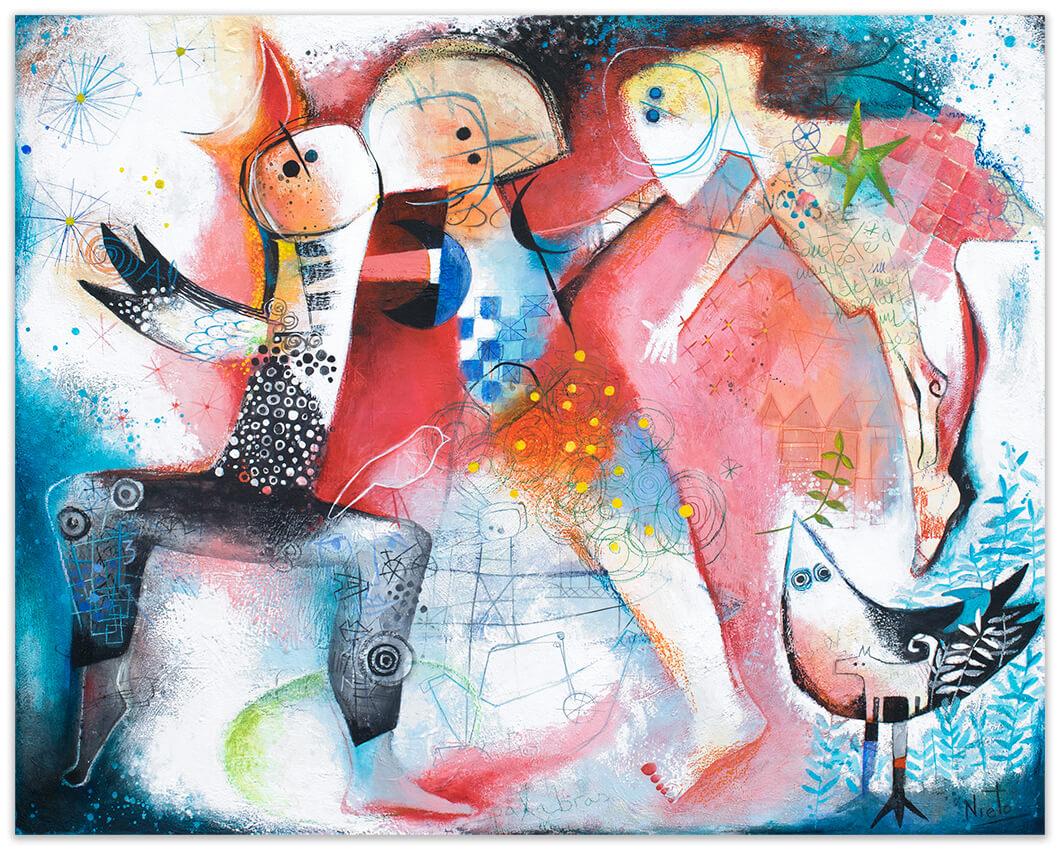 Bailando al viento, original painting by Angeles Nieto