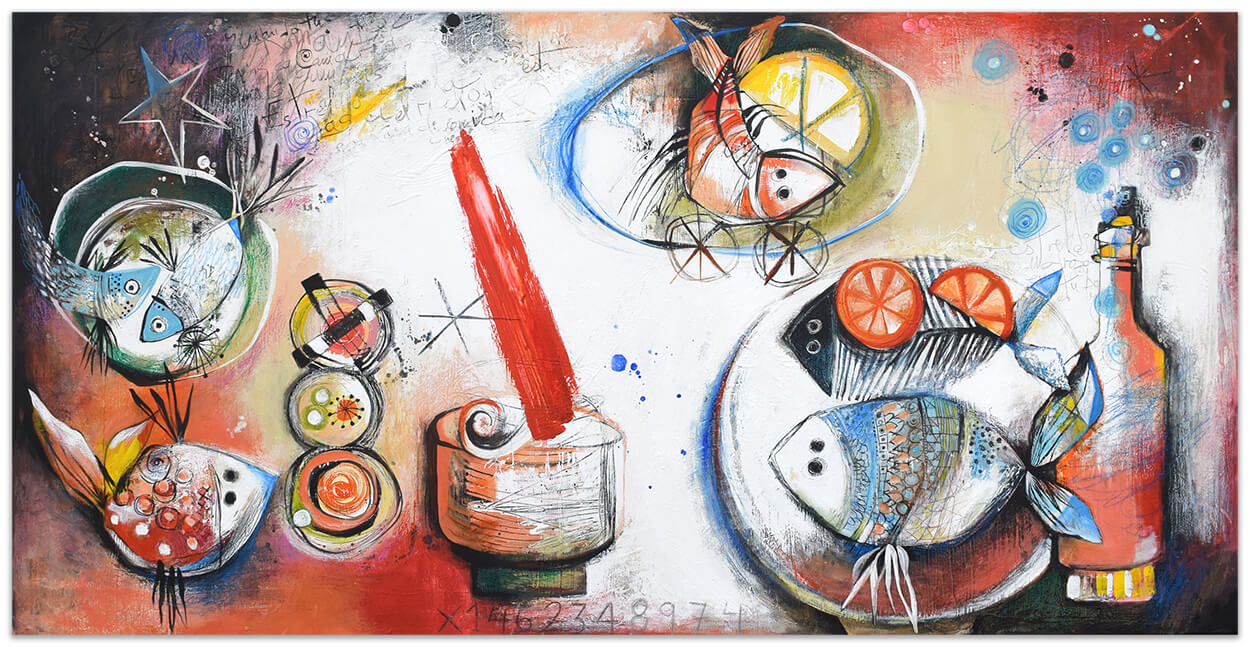 Juego de Sushi - Original painting by Angeles Nieto