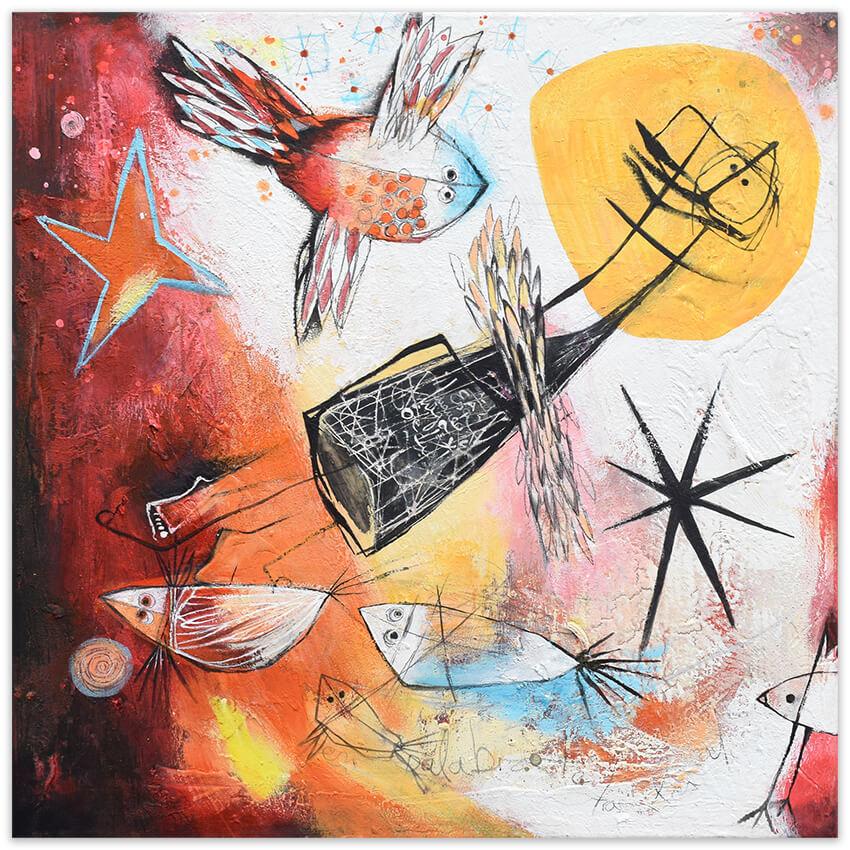 Mundo libre - Vrije wereld - Liberated world - original painting by Angeles Nieto