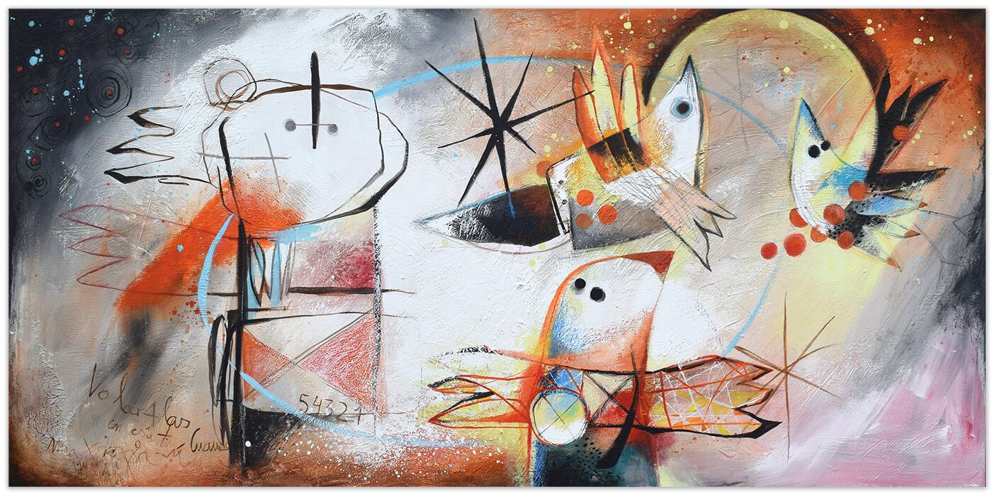 Deseo de volar - Original painting by Angeles Nieto