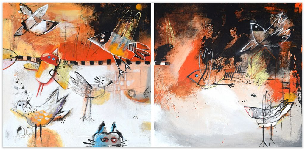 Dyptich - original paintings by Angeles Nieto