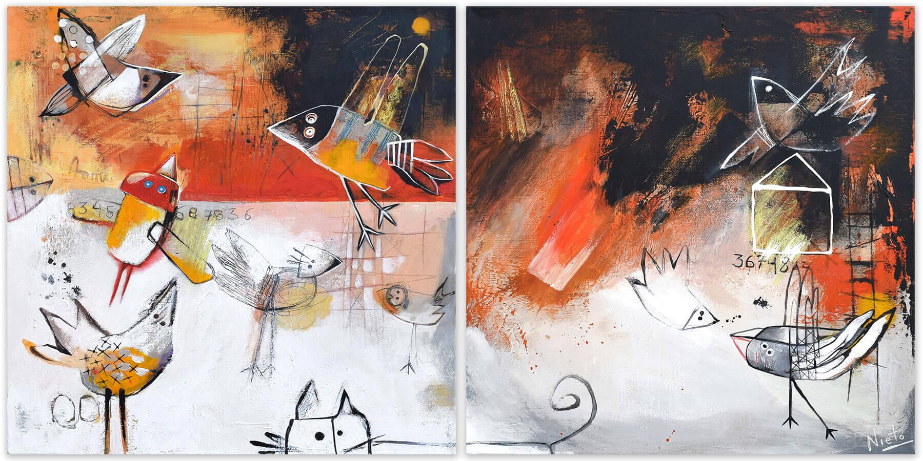 Paísaje de vuelos - diptych - original painting on canvas by Angeles Nieto