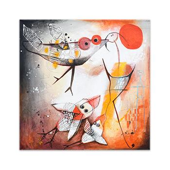 Tú, yo y los pájaros - Original painting by Angeles Nieto