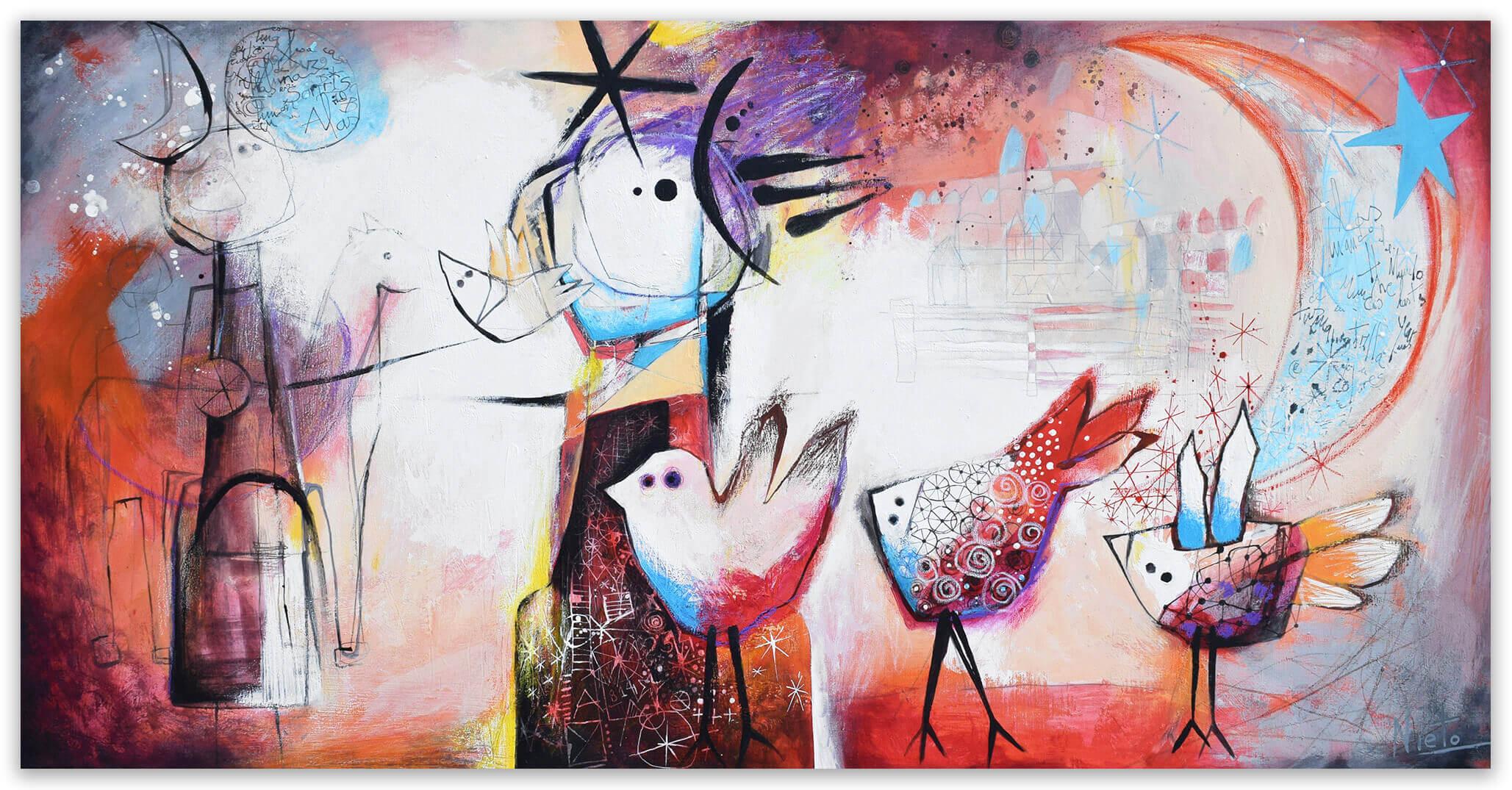 Baile de primavera - Original pairing on canvas by Angeles Nieto
