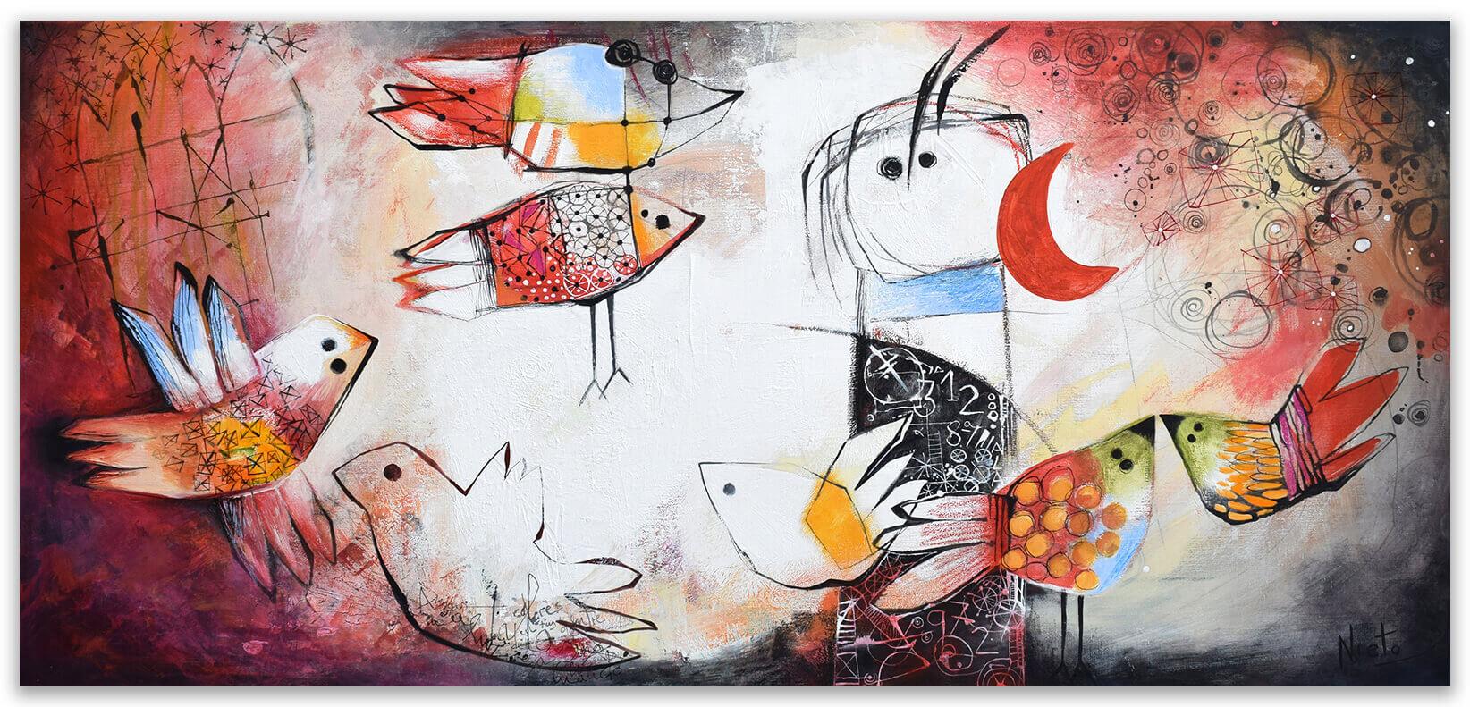 Rodeado de soles - original painting on canvas by Angeles Nieto